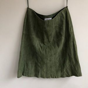 Worth Suede Green Skirt with stitch detailing
